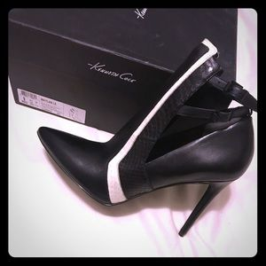 Kenneth Cole black pointed leather heel booties